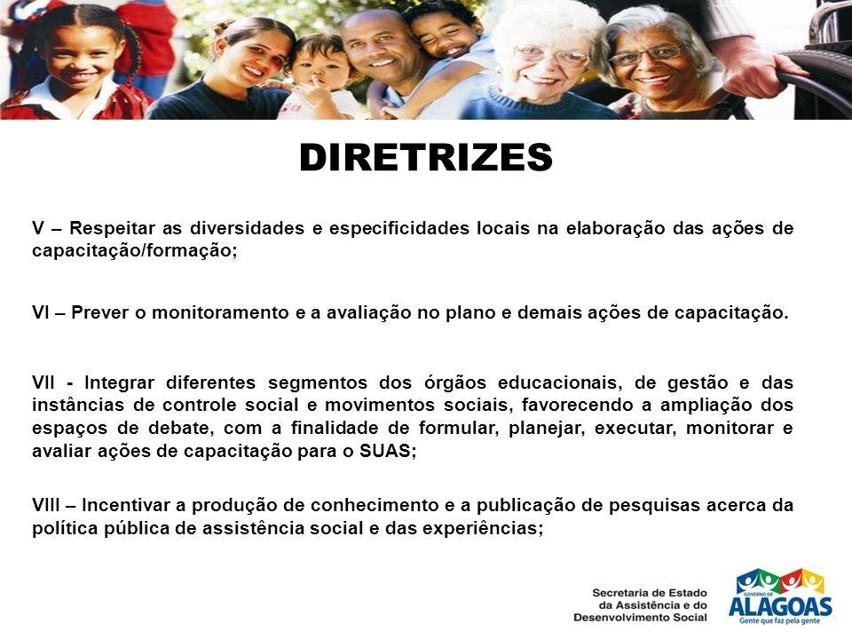 DIRETRIZESV – Respeitar as diversidades e especificidades locais na elaboração das ações de capacitação/formação;