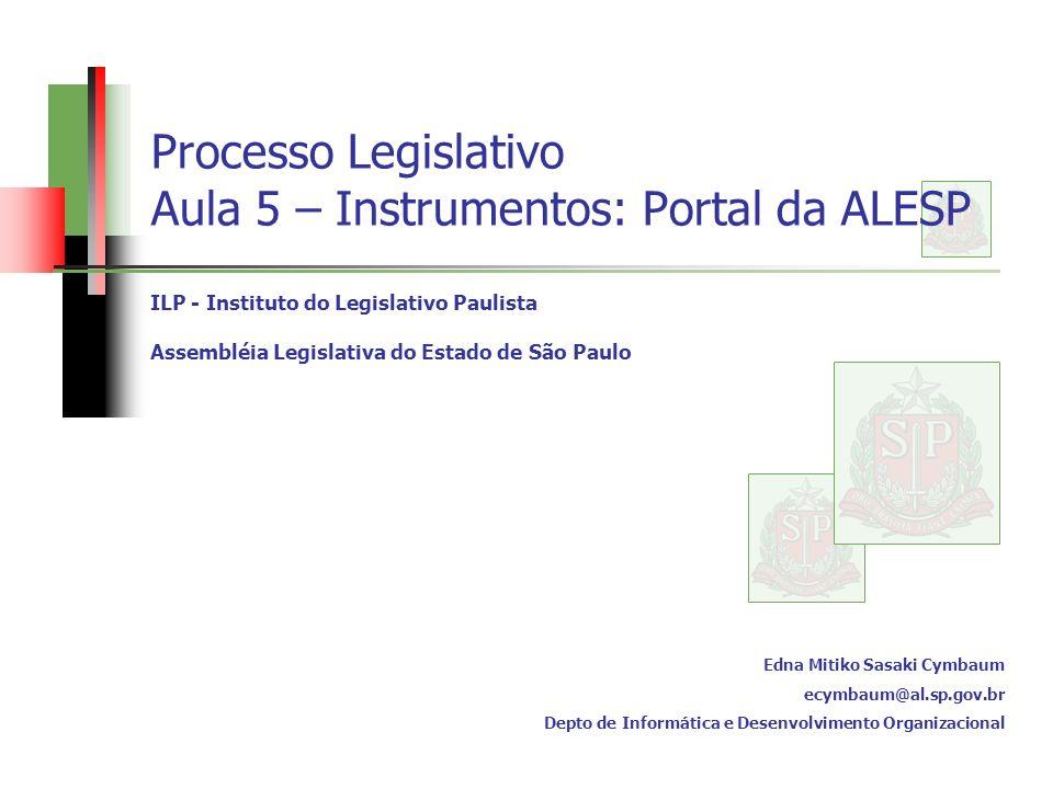Processo Legislativo Aula 5 – Instrumentos: Portal da ALESP ILP - Instituto do Legislativo Paulista Assembléia Legislativa do Estado de São Paulo