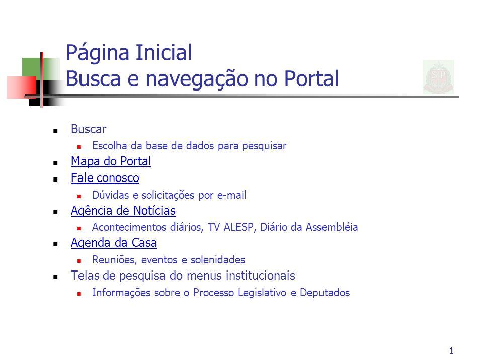 Página Inicial Busca e navegação no Portal