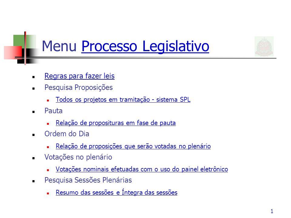 Menu Processo Legislativo