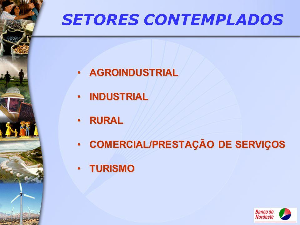SETORES CONTEMPLADOS AGROINDUSTRIAL INDUSTRIAL RURAL