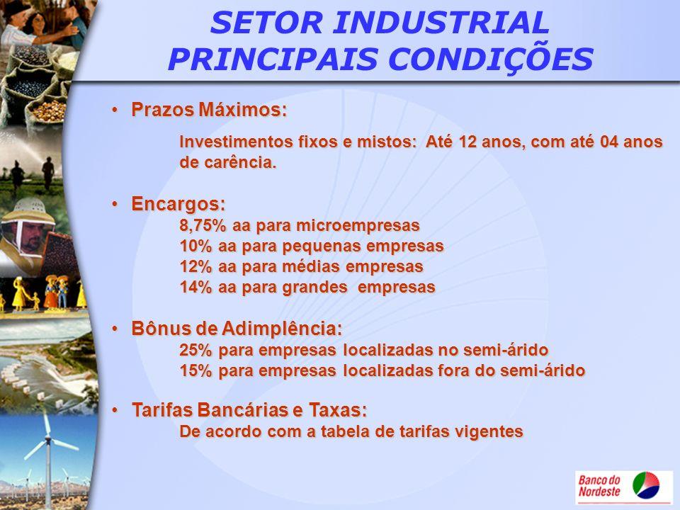 SETOR INDUSTRIAL PRINCIPAIS CONDIÇÕES