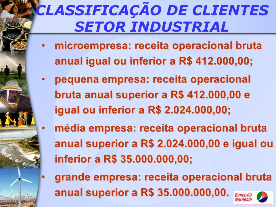 CLASSIFICAÇÃO DE CLIENTES SETOR INDUSTRIAL