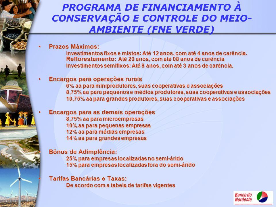 PROGRAMA DE FINANCIAMENTO À CONSERVAÇÃO E CONTROLE DO MEIO-AMBIENTE (FNE VERDE)