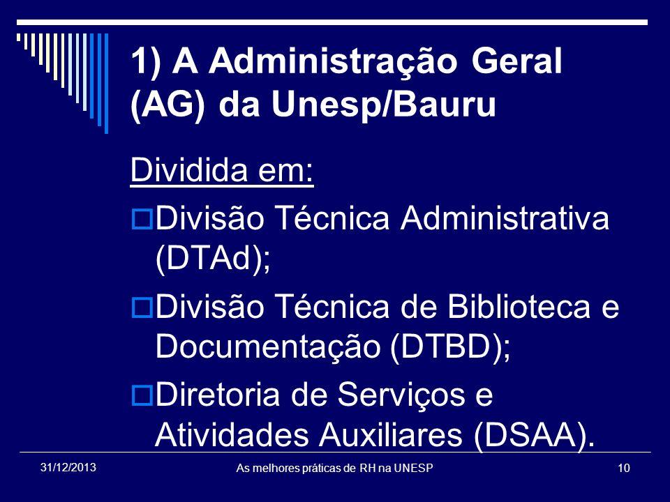 1) A Administração Geral (AG) da Unesp/Bauru