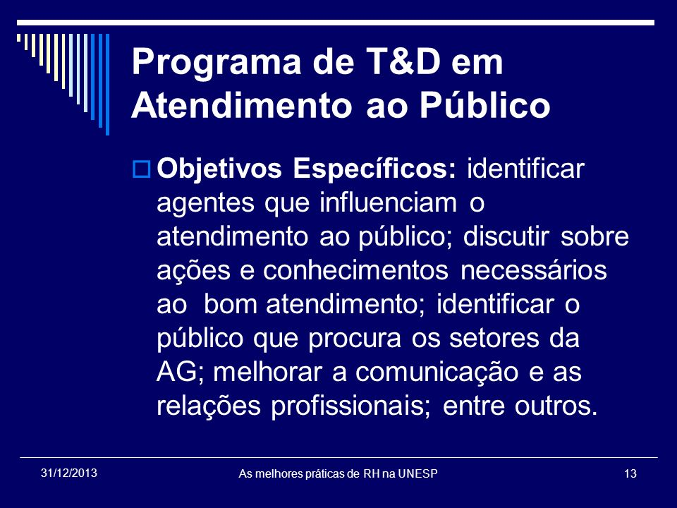 Programa de T&D em Atendimento ao Público