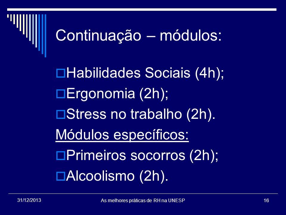 Continuação – módulos: