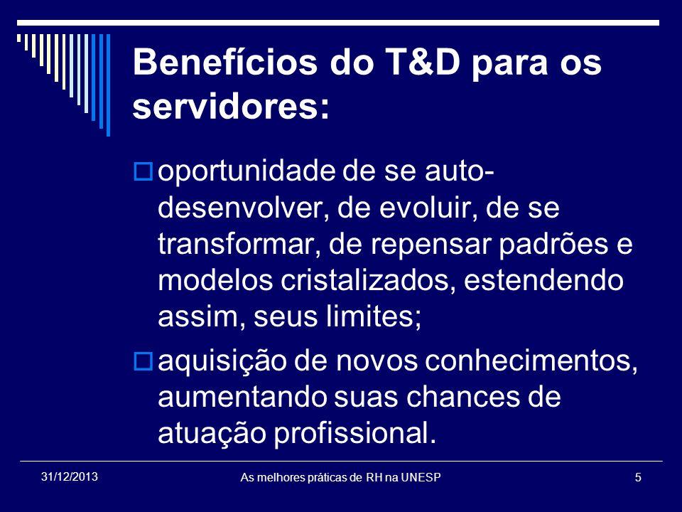 Benefícios do T&D para os servidores: