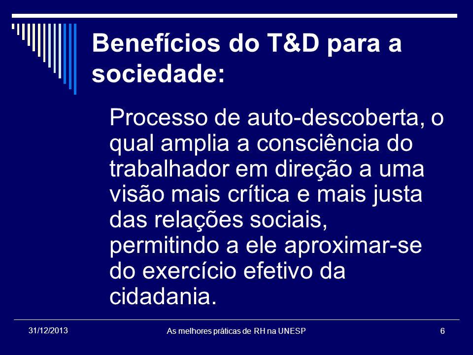 Benefícios do T&D para a sociedade: