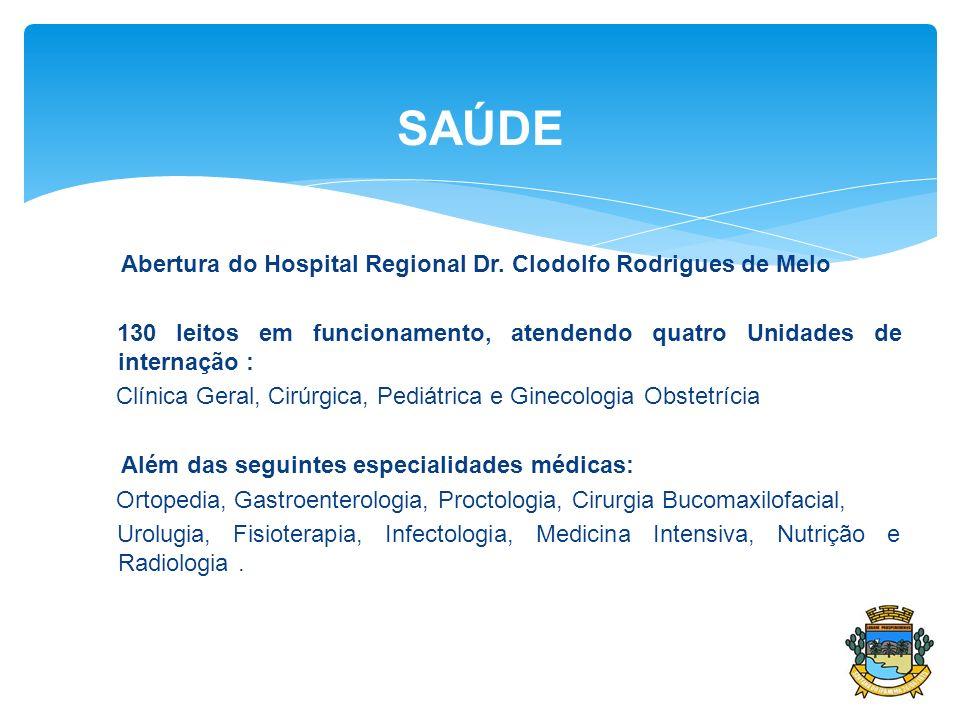 SAÚDE Abertura do Hospital Regional Dr. Clodolfo Rodrigues de Melo