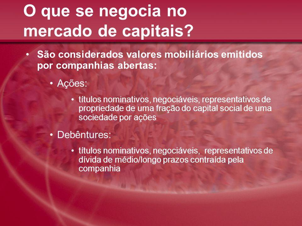 O que se negocia no mercado de capitais