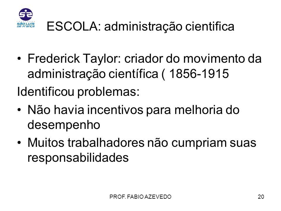 ESCOLA: administração cientifica