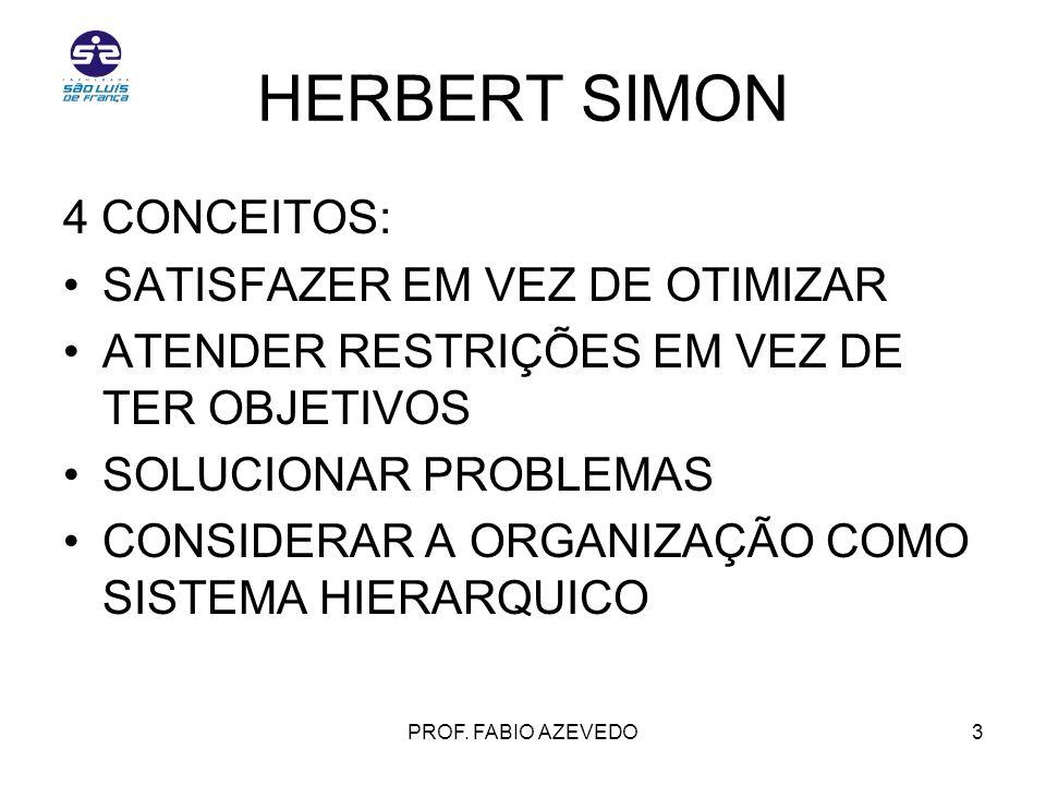 HERBERT SIMON 4 CONCEITOS: SATISFAZER EM VEZ DE OTIMIZAR
