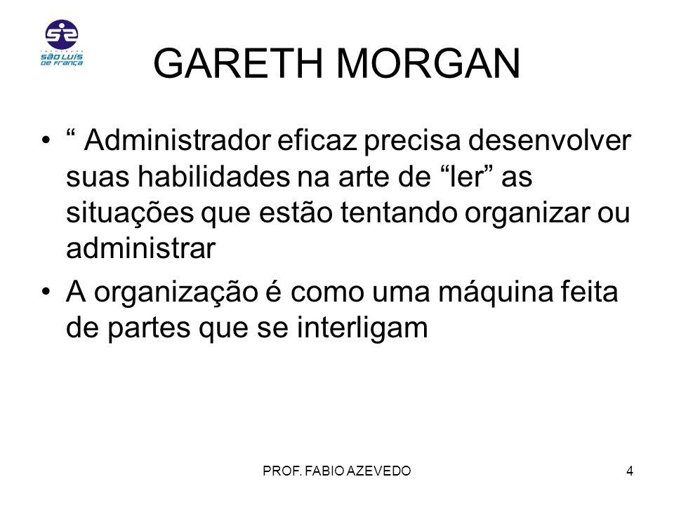 GARETH MORGAN Administrador eficaz precisa desenvolver suas habilidades na arte de ler as situações que estão tentando organizar ou administrar.