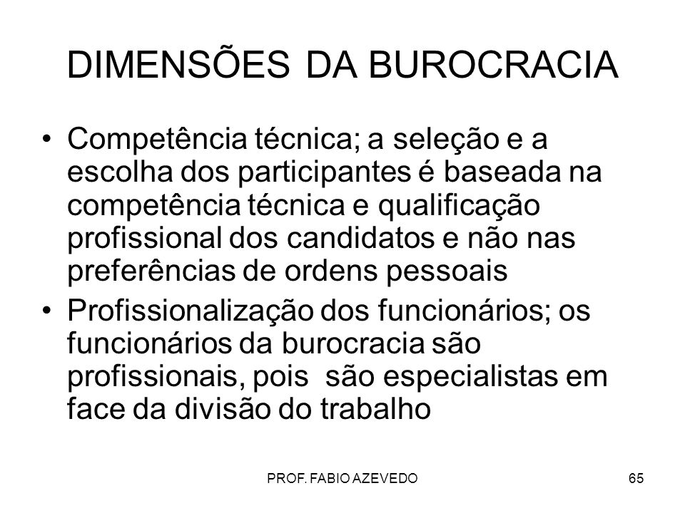 DIMENSÕES DA BUROCRACIA