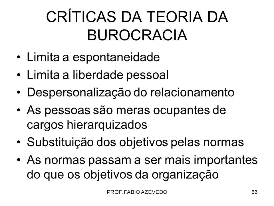 CRÍTICAS DA TEORIA DA BUROCRACIA