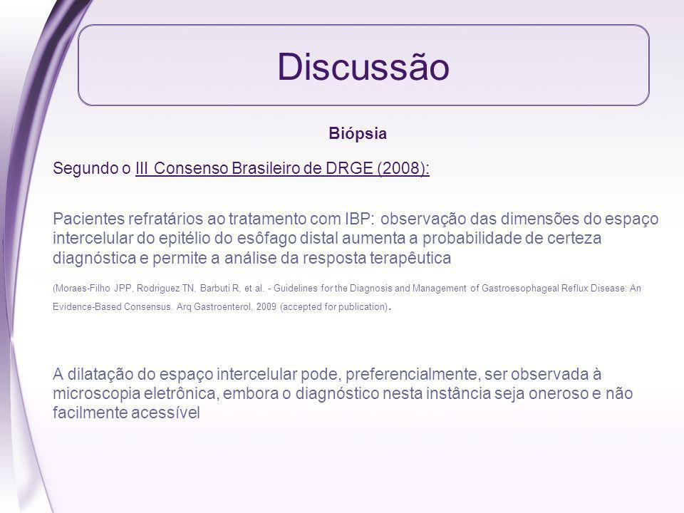 Discussão Biópsia Segundo o III Consenso Brasileiro de DRGE (2008):