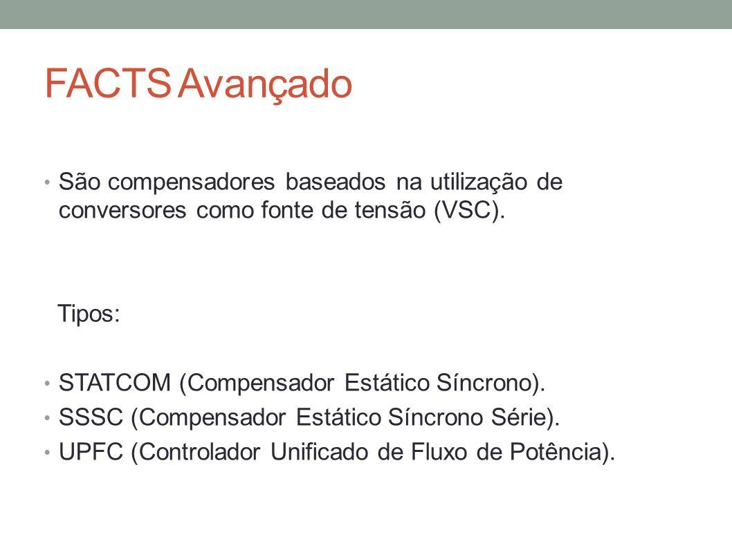 FACTS Avançado São compensadores baseados na utilização de conversores como fonte de tensão (VSC). Tipos: