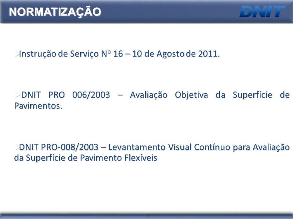 NORMATIZAÇÃO Instrução de Serviço No 16 – 10 de Agosto de 2011.