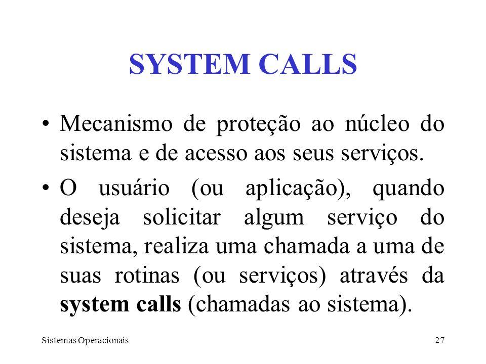 SYSTEM CALLS Mecanismo de proteção ao núcleo do sistema e de acesso aos seus serviços.