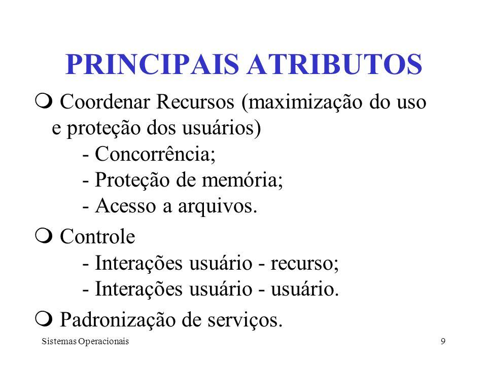 PRINCIPAIS ATRIBUTOS Coordenar Recursos (maximização do uso e proteção dos usuários) - Concorrência; - Proteção de memória; - Acesso a arquivos.