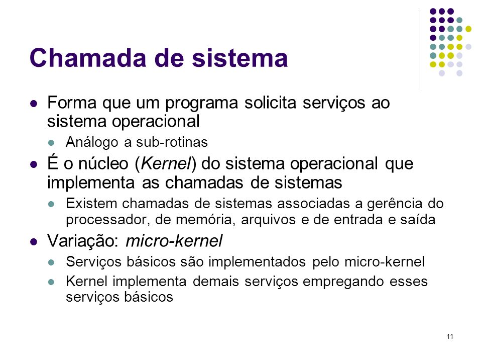 Chamada de sistema Forma que um programa solicita serviços ao sistema operacional. Análogo a sub-rotinas.