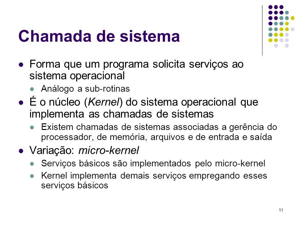 Chamada de sistemaForma que um programa solicita serviços ao sistema operacional. Análogo a sub-rotinas.