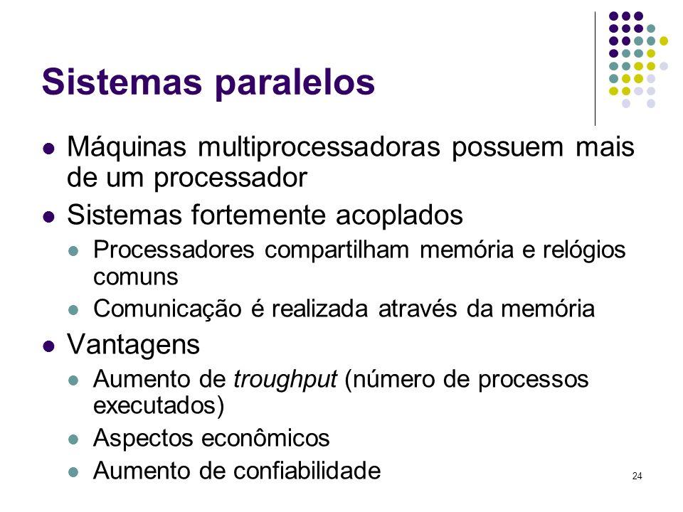 Sistemas paralelosMáquinas multiprocessadoras possuem mais de um processador. Sistemas fortemente acoplados.