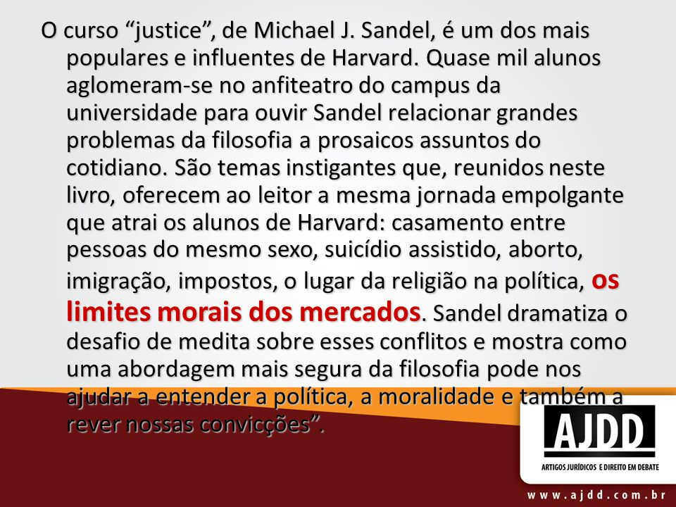 O curso justice , de Michael J