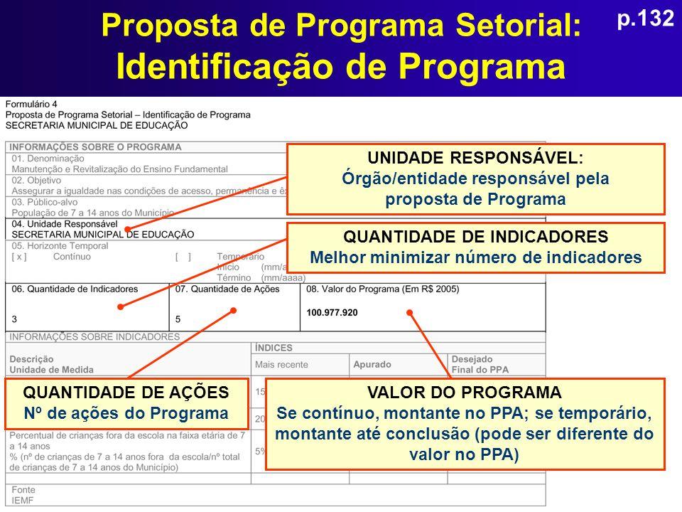 Proposta de Programa Setorial: Identificação de Programa