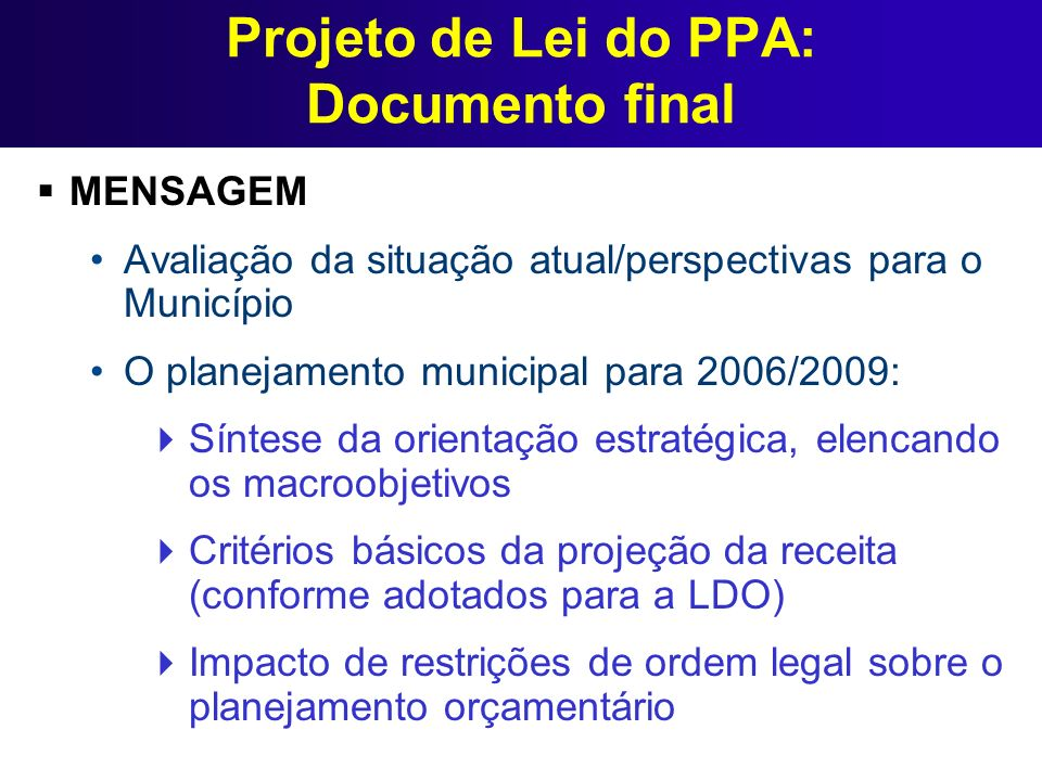 Projeto de Lei do PPA: Documento final