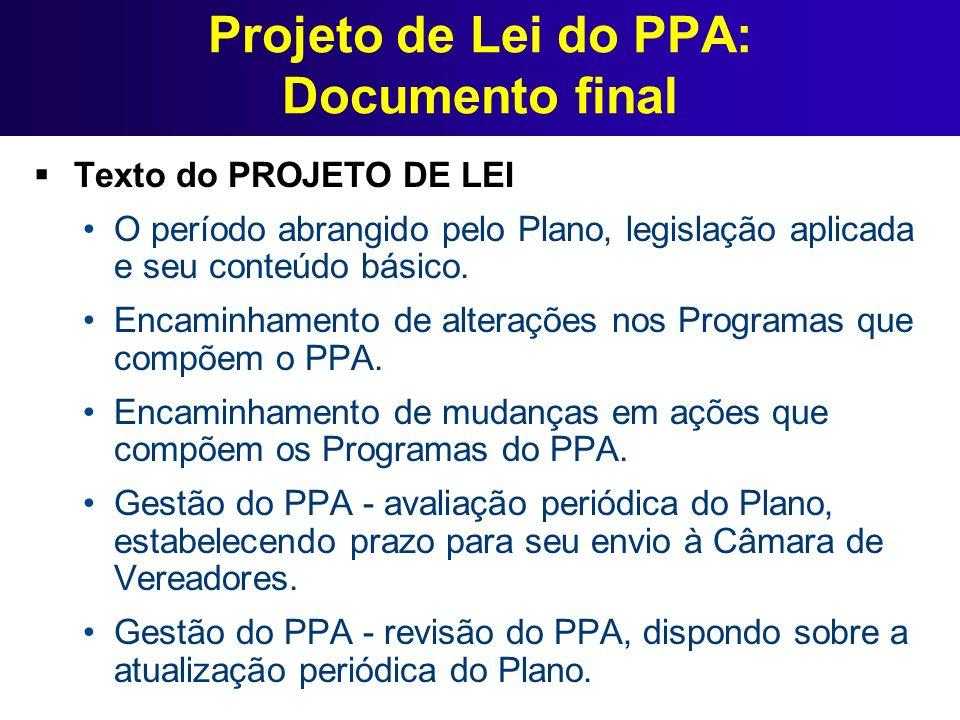 Projeto de Lei do PPA: Documento final