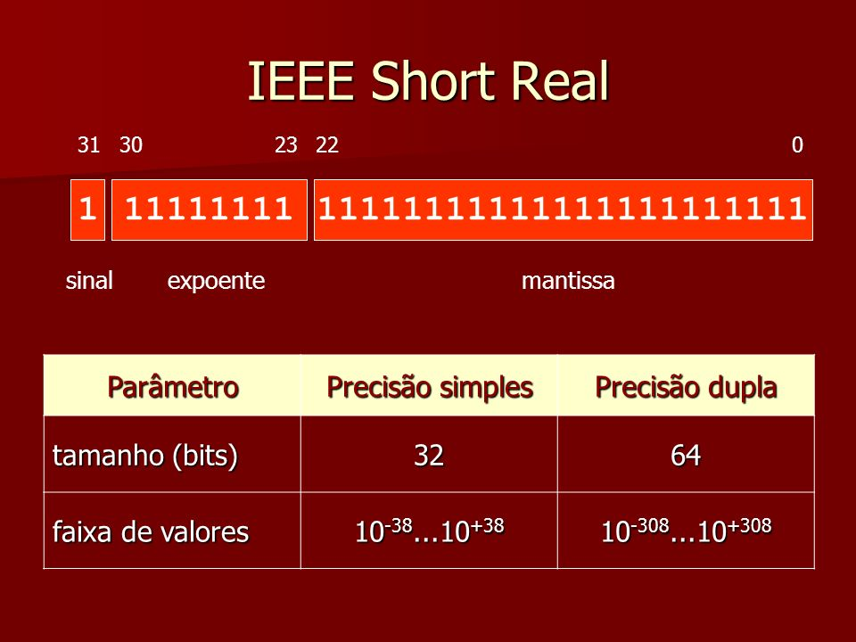 IEEE Short Real 1 11111111 11111111111111111111111 Parâmetro