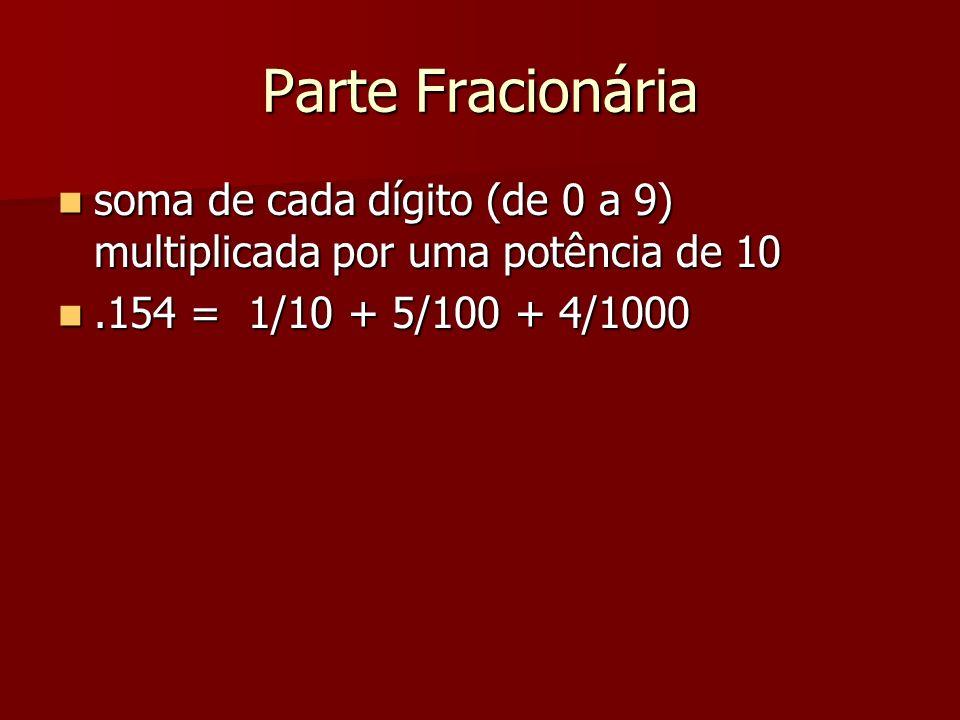 Parte Fracionáriasoma de cada dígito (de 0 a 9) multiplicada por uma potência de 10.