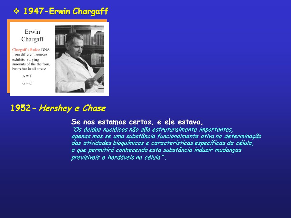 1947-Erwin Chargaff 1952- Hershey e Chase