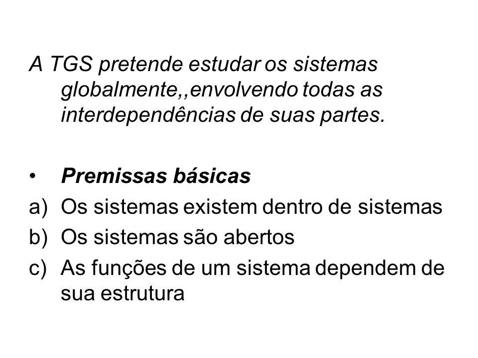 A TGS pretende estudar os sistemas globalmente,,envolvendo todas as interdependências de suas partes.