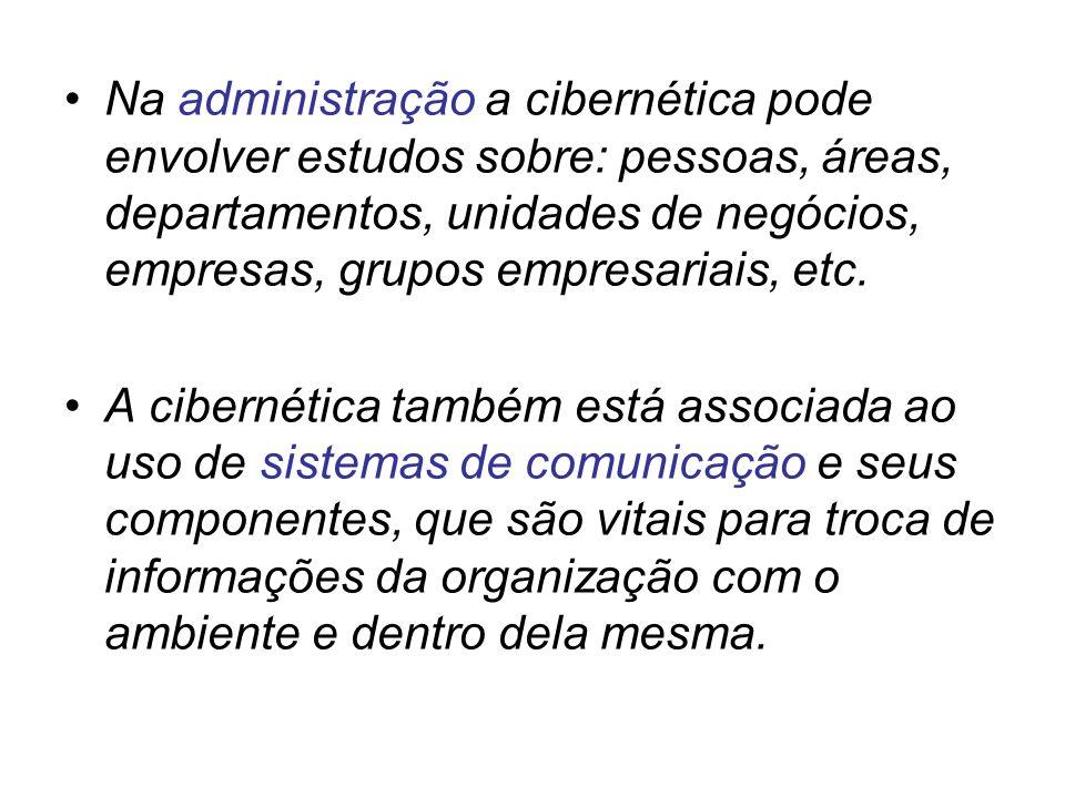 Na administração a cibernética pode envolver estudos sobre: pessoas, áreas, departamentos, unidades de negócios, empresas, grupos empresariais, etc.