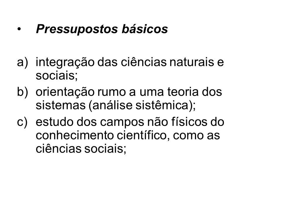 Pressupostos básicos integração das ciências naturais e sociais; orientação rumo a uma teoria dos sistemas (análise sistêmica);