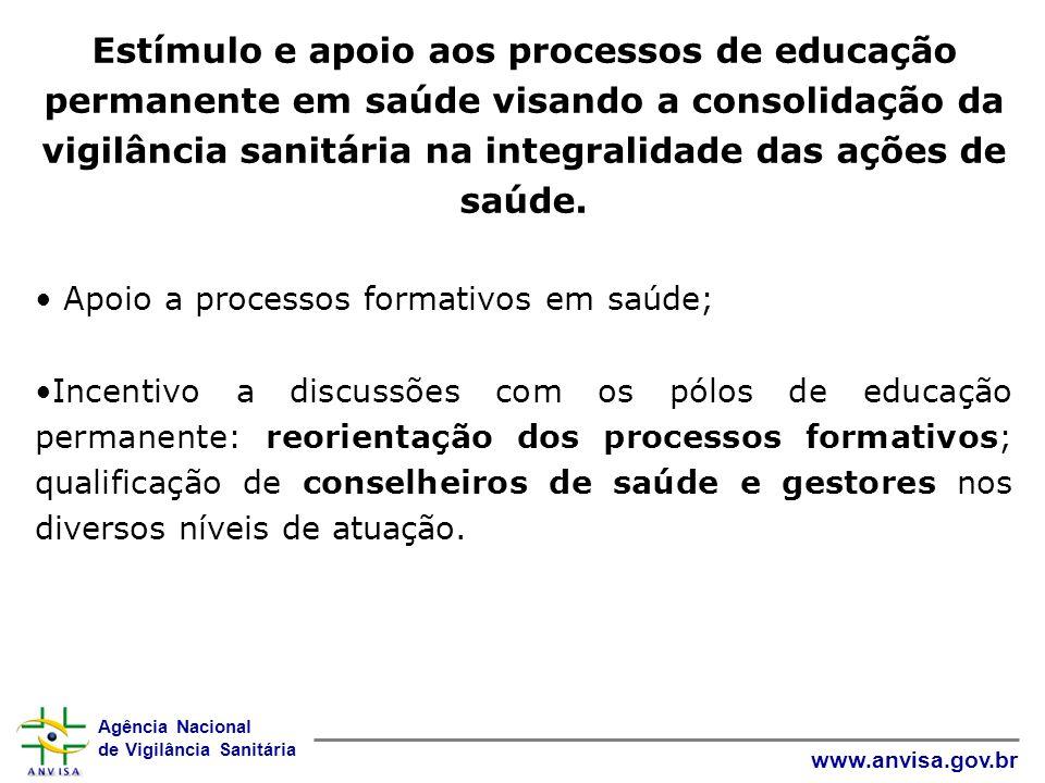 Estímulo e apoio aos processos de educação permanente em saúde visando a consolidação da vigilância sanitária na integralidade das ações de saúde.