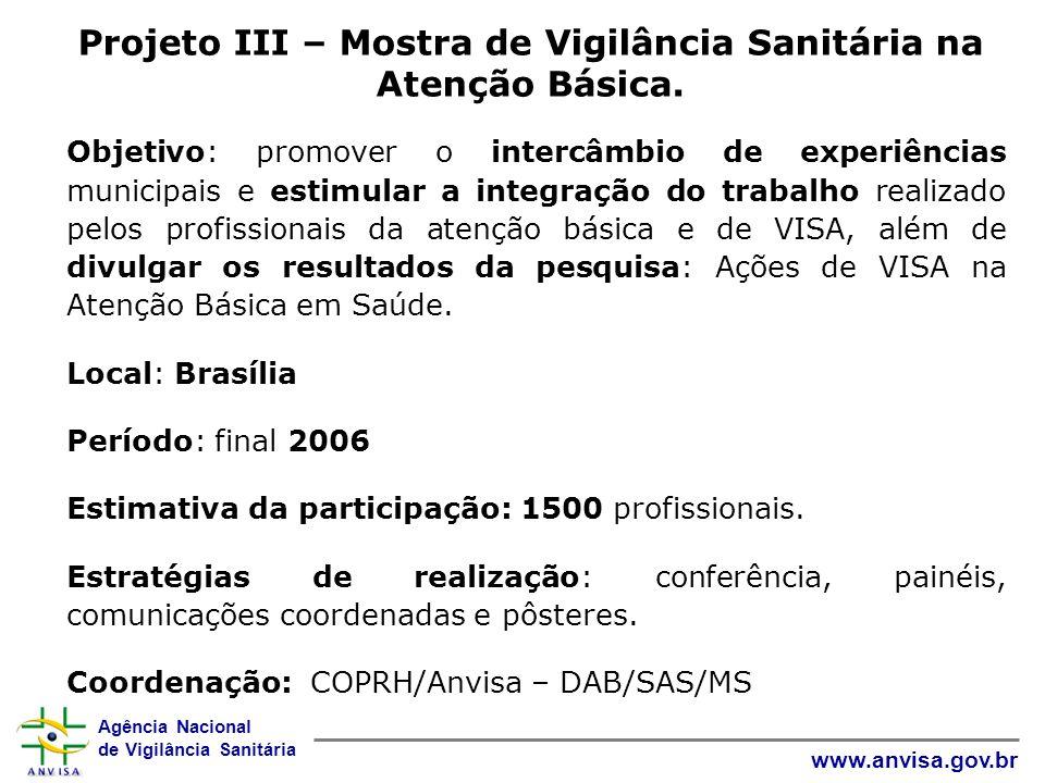 Projeto III – Mostra de Vigilância Sanitária na Atenção Básica.