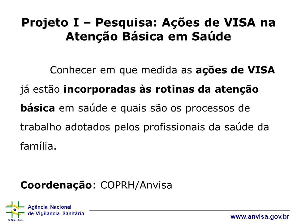Projeto I – Pesquisa: Ações de VISA na Atenção Básica em Saúde
