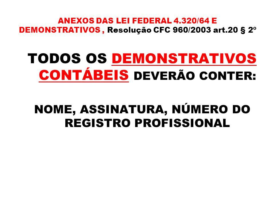 TODOS OS DEMONSTRATIVOS CONTÁBEIS DEVERÃO CONTER: