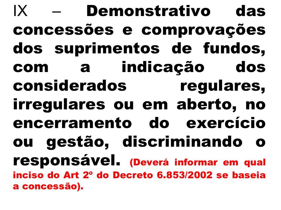 IX – Demonstrativo das concessões e comprovações dos suprimentos de fundos, com a indicação dos considerados regulares, irregulares ou em aberto, no encerramento do exercício ou gestão, discriminando o responsável.