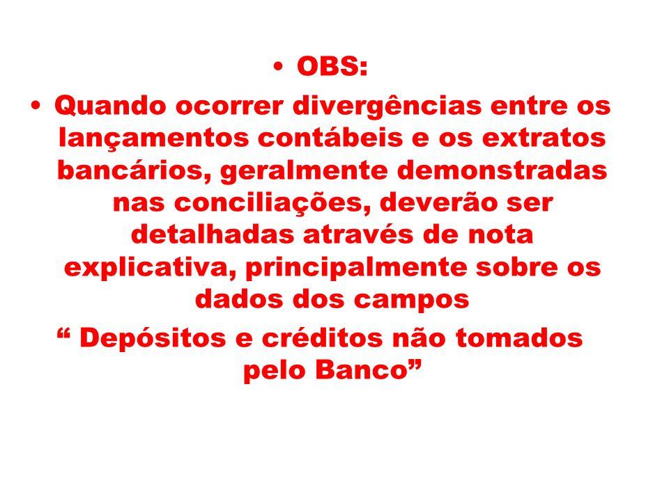Depósitos e créditos não tomados pelo Banco