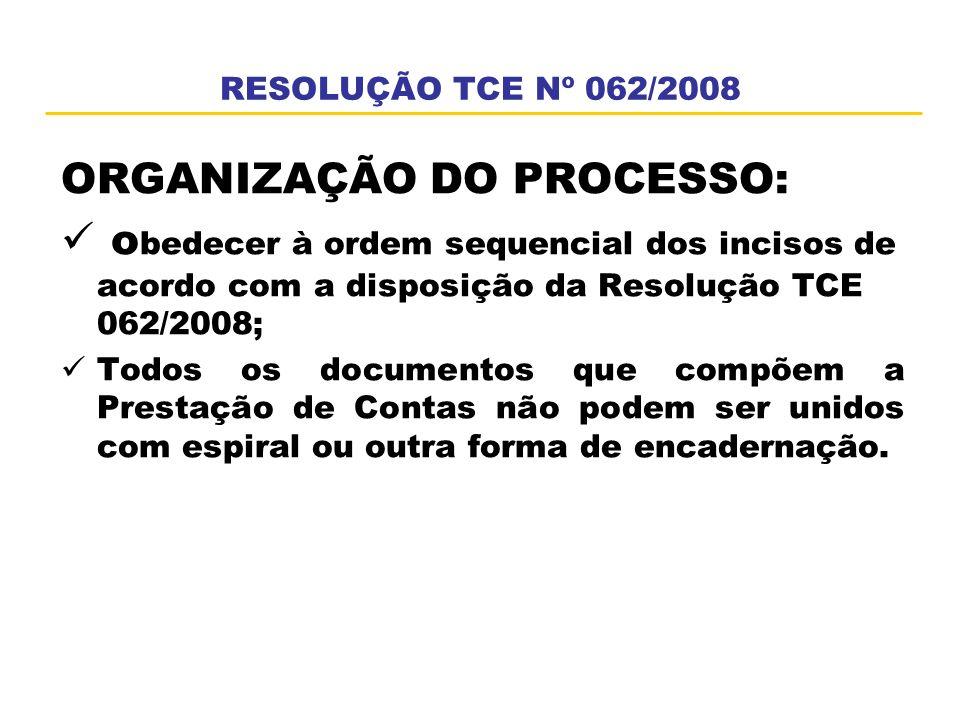 ORGANIZAÇÃO DO PROCESSO:
