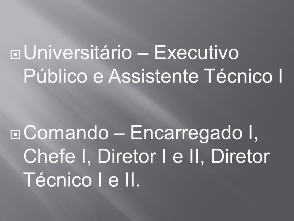 Universitário – Executivo Público e Assistente Técnico I