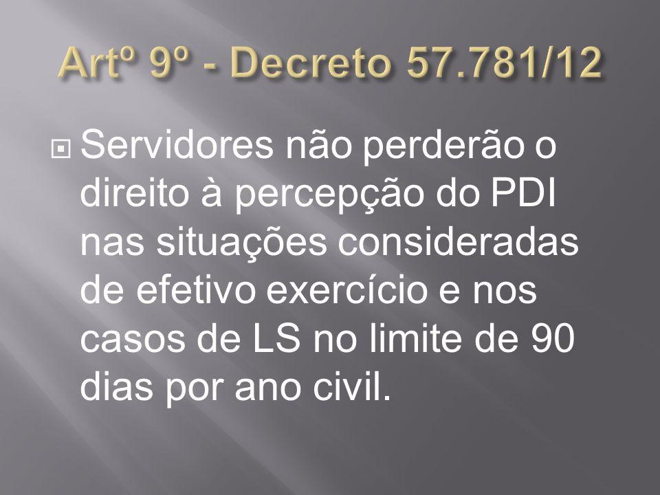 Artº 9º - Decreto 57.781/12