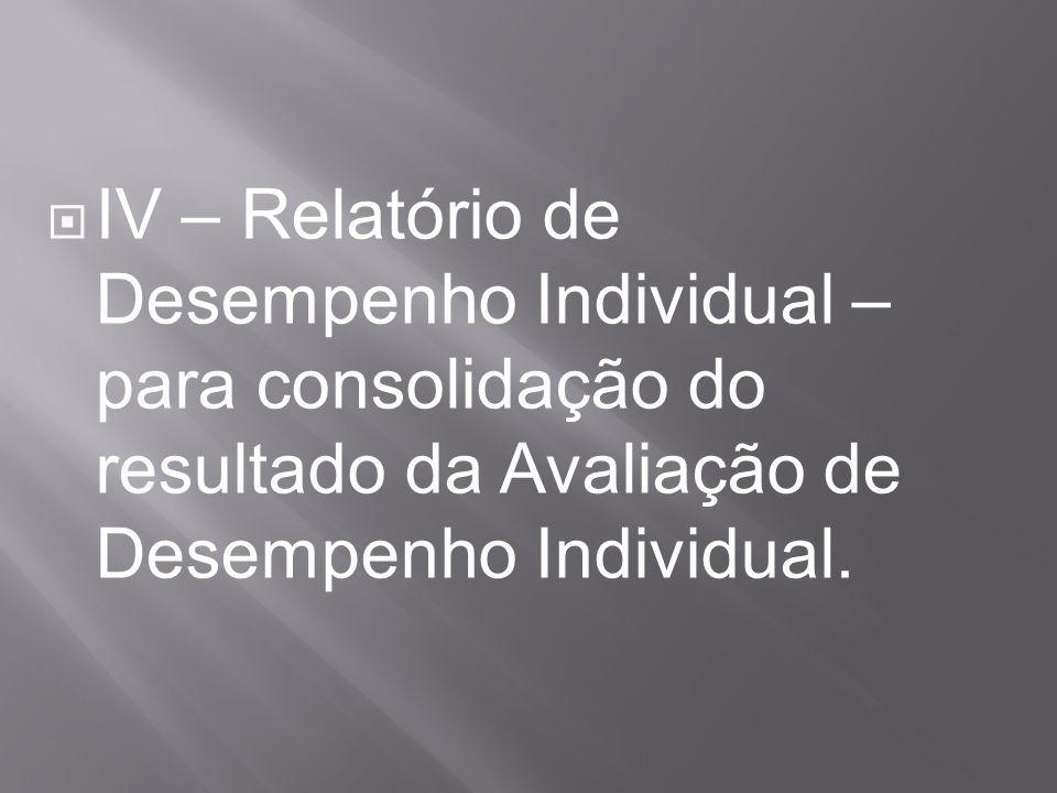 IV – Relatório de Desempenho Individual – para consolidação do resultado da Avaliação de Desempenho Individual.