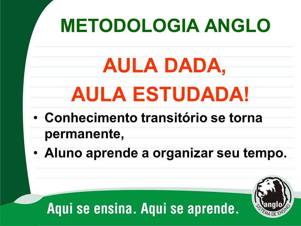 AULA ESTUDADA! METODOLOGIA ANGLO AULA DADA,