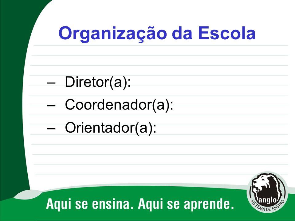 Organização da Escola Diretor(a): Coordenador(a): Orientador(a):